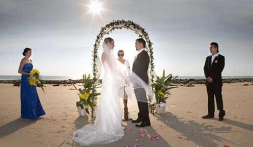 Glen and Candice Local Broome couple enjoying a Cable Beach Wedding