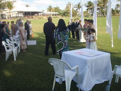 Special Guests Mary and Nolan at Ed and Helen's Beautiful Cable Beach Wedding