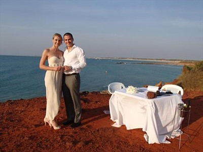 Jen and Jonathan all the way from Sydney for a Wedding Ceremony at Gantheaume Point over looking Cable Beach Broome Western Australia
