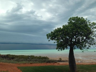 Storm overlooking Roebuck Bay Town Beach Yes me and my iphone get around
